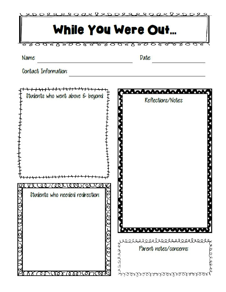 While You Were Out... Substitute Teacher Freebie!