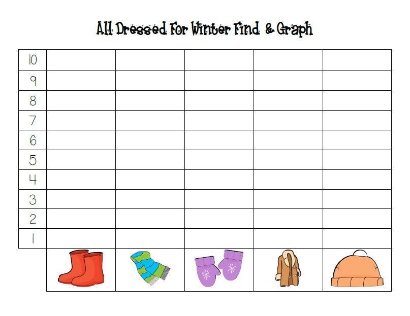 All Dressed for Winter Math Center Activity - Find and Graph Page