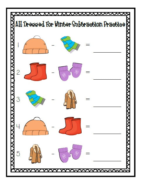 All Dressed for Winter Math Center Activity - Subtraction