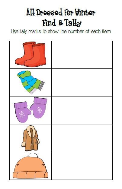 All Dressed for Winter Math Center Activity - Find and Tally Page