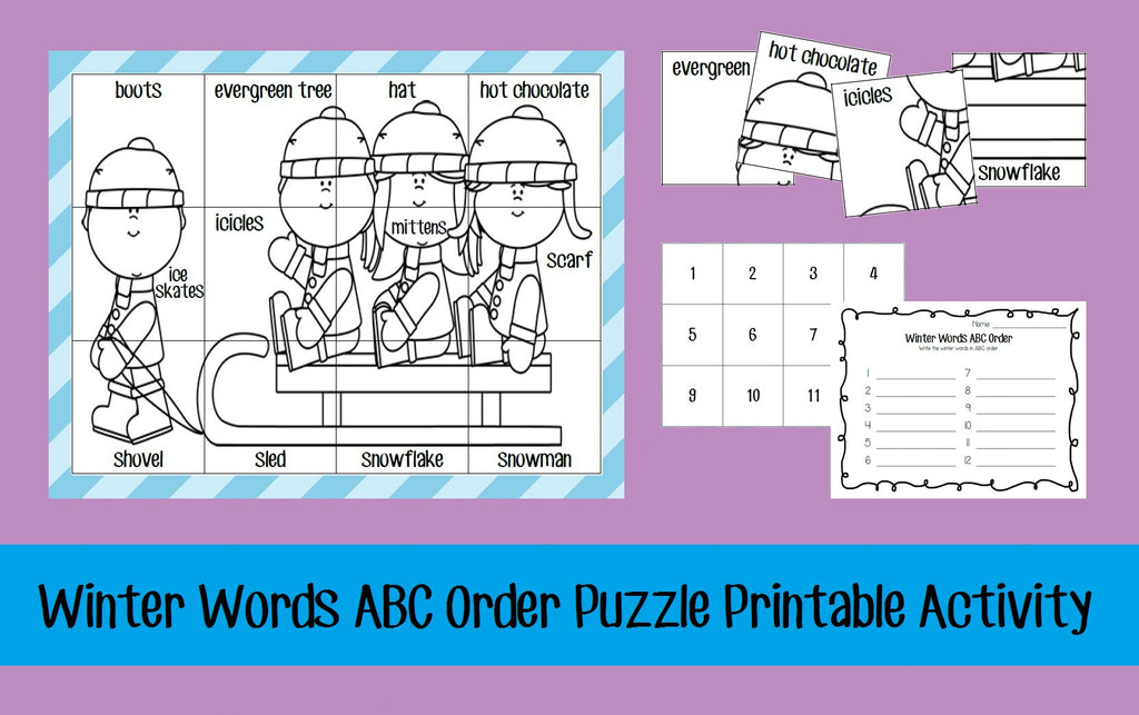 Winter Words ABC Order Puzzle Printable