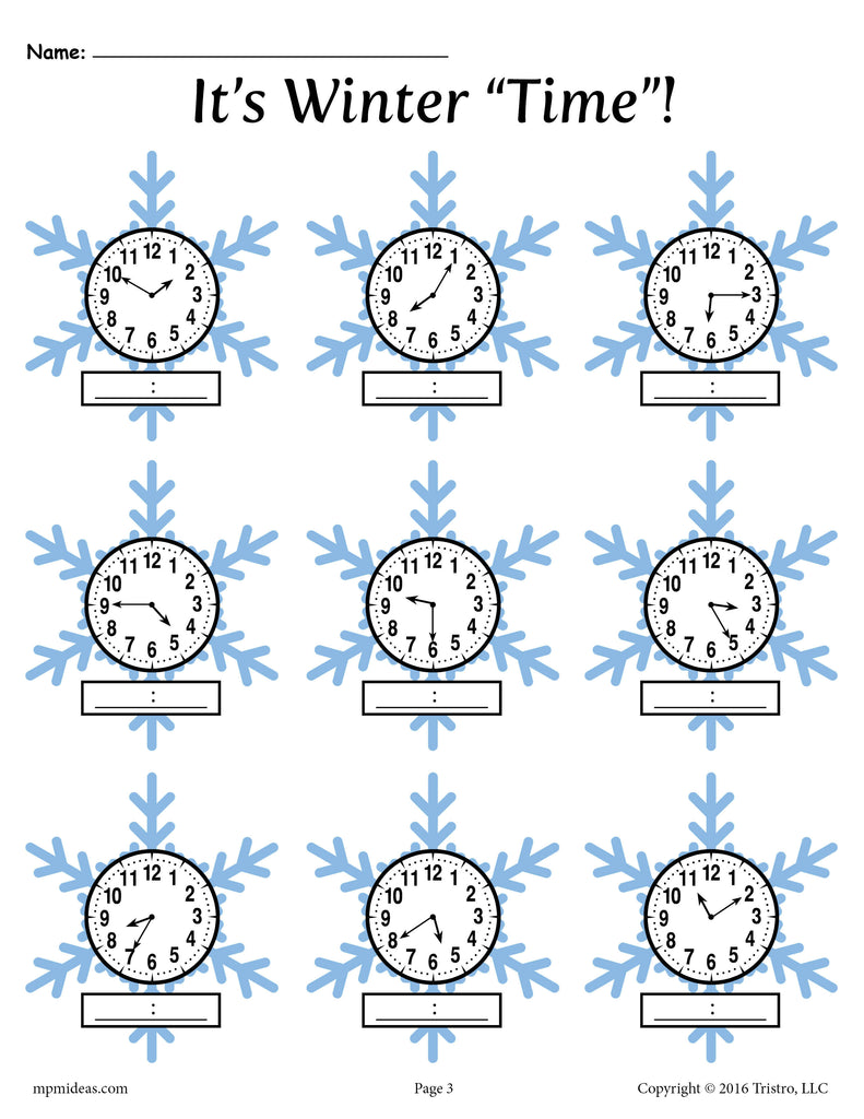 - Winter Themed Telling Time Worksheets! (4 Printable Versions