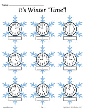 Winter Themed Telling Time Worksheets! (4 Printable Versions)
