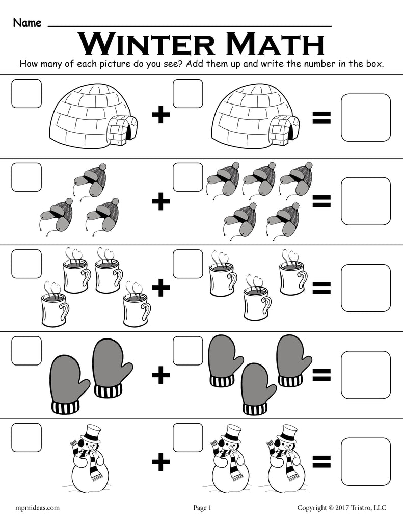 free winter themed addition with pictures math worksheet. Black Bedroom Furniture Sets. Home Design Ideas