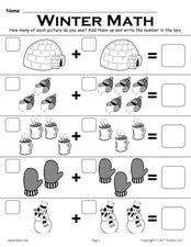 "Winter Themed ""Addition With Pictures"" Math Worksheet!"
