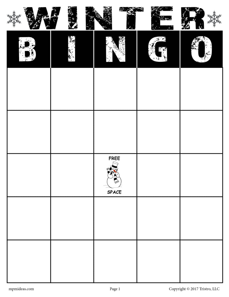It is a picture of Gorgeous Winter Bingo Cards Free Printable