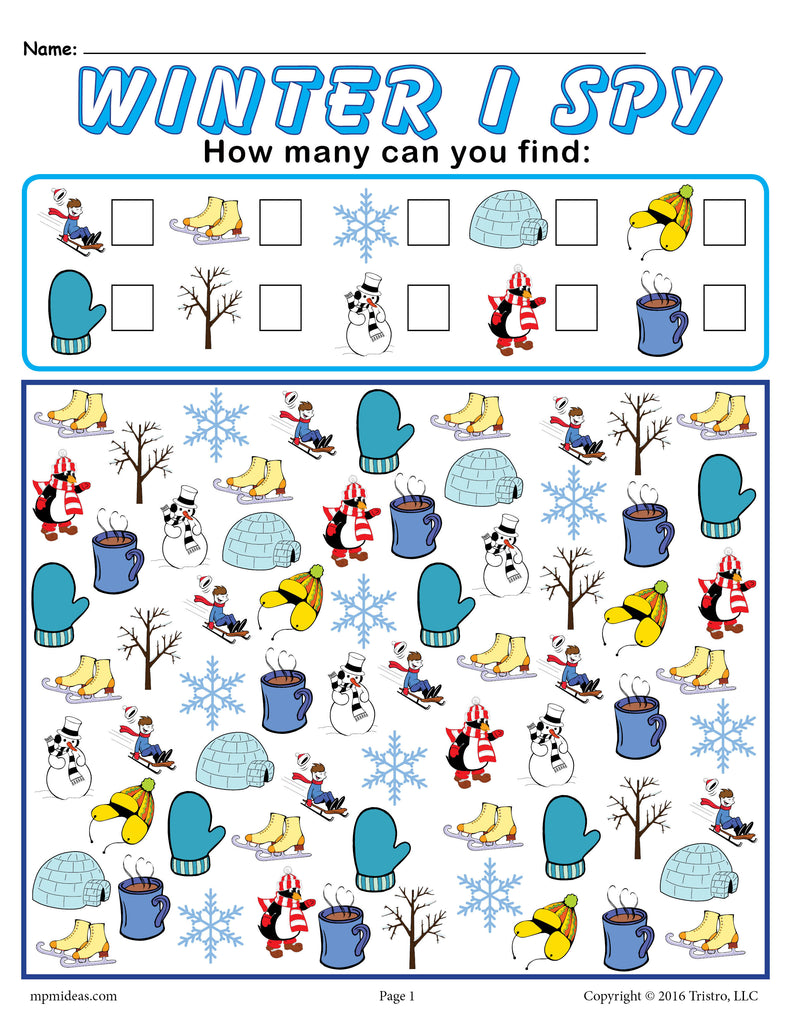 image about I Spy Printable named Wintertime I Spy - Totally free Printable Wintertime Counting Worksheet