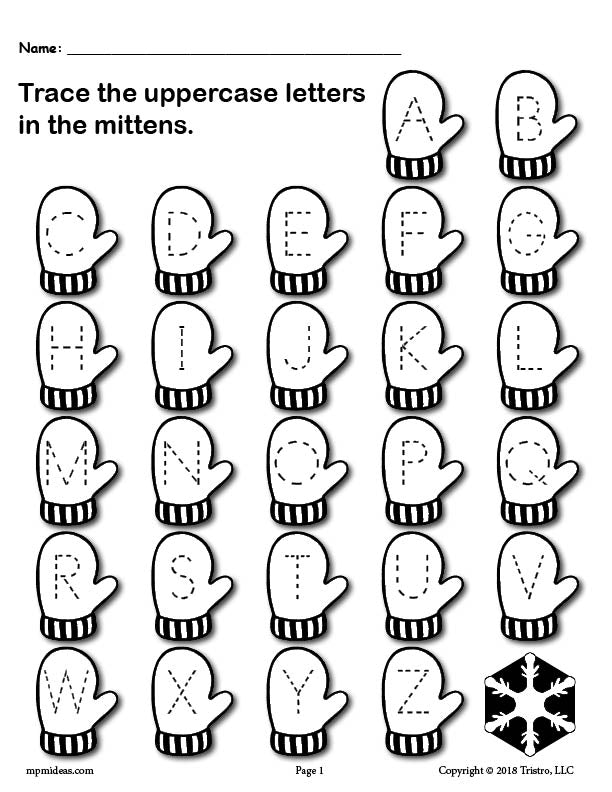 Printable Winter Themed Uppercase And Lowercase Alphabet Letter Tracin –  SupplyMe