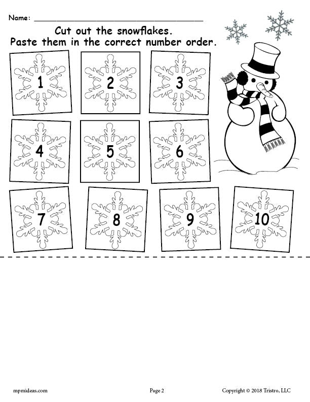 Printable Snowflake Number Ordering Worksheet Numbers 1-10!