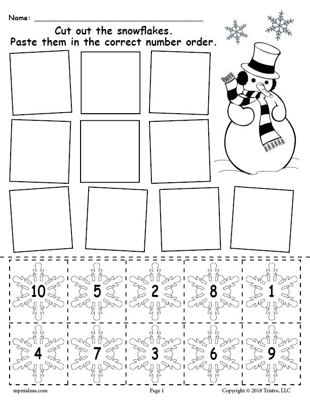 picture about Free Printable Numbers 1-10 referred to as Absolutely free Printable Snowflake Selection Purchasing Worksheet Quantities 1