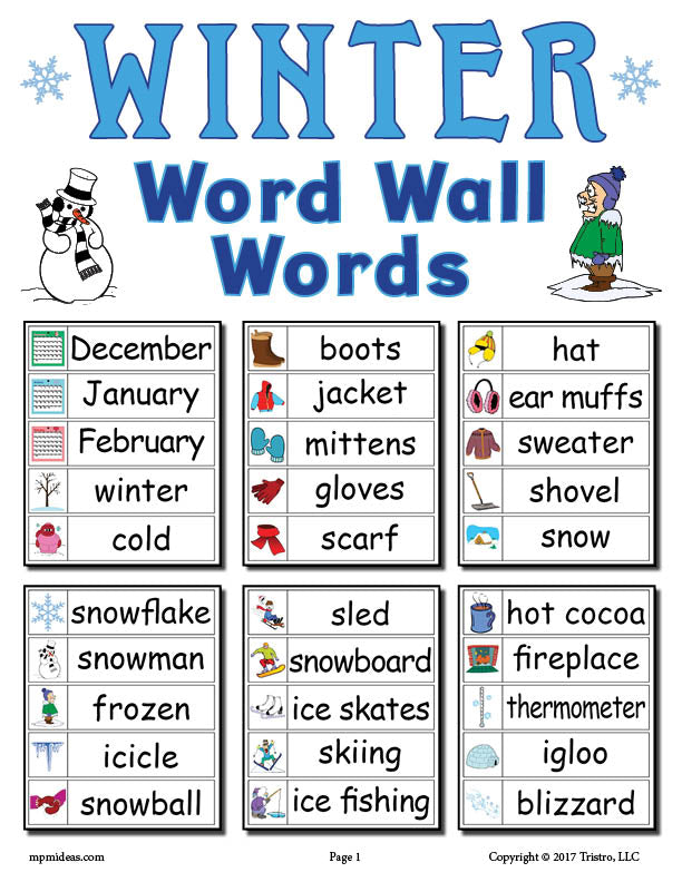 30 FREE Winter Word Wall Words