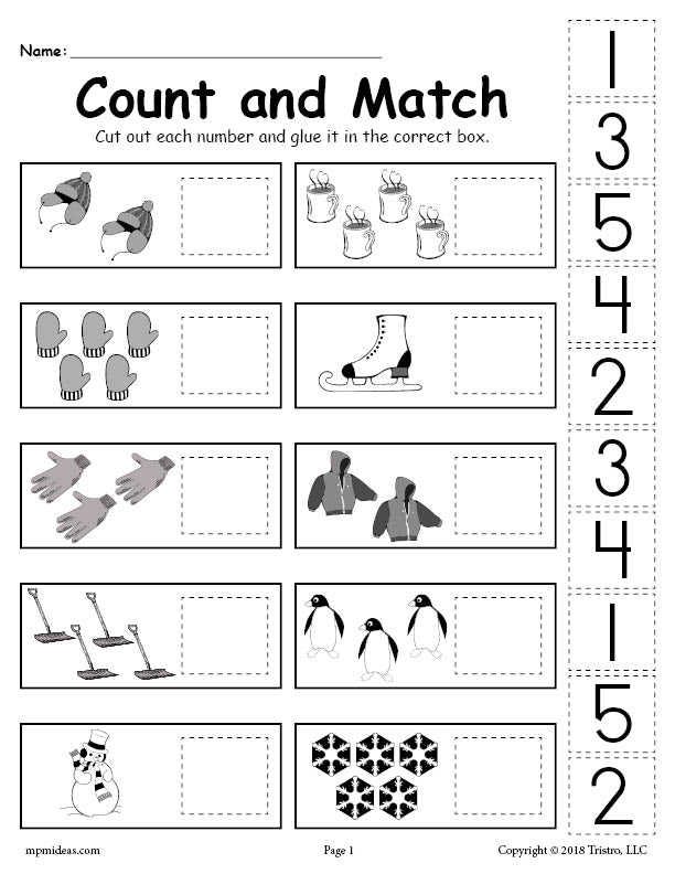 free printable winter counting and matching cut and paste worksheet supplyme. Black Bedroom Furniture Sets. Home Design Ideas