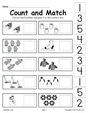 FREE Printable Winter Counting and Matching Cut And Paste Worksheet!