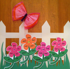 Word Family Flower Garden - Interactive Literacy Bulletin Board Idea