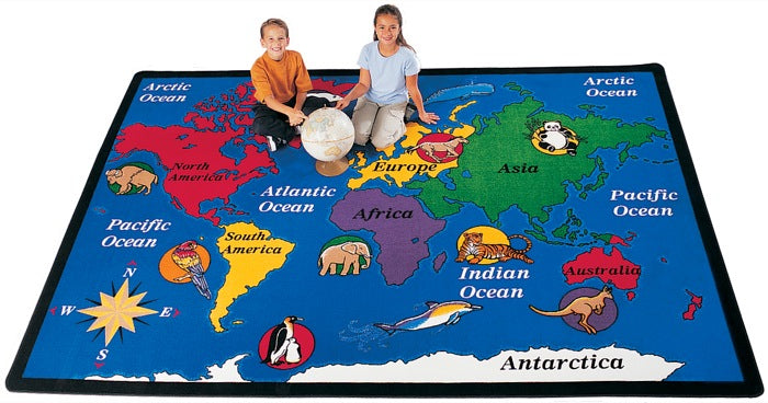"World Explorer Seven Continents Classroom Rug, 4'5"" x 5'10"" Rectangle"