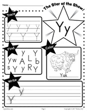 FREE Letter Y Worksheet: Tracing, Coloring, Writing & More!