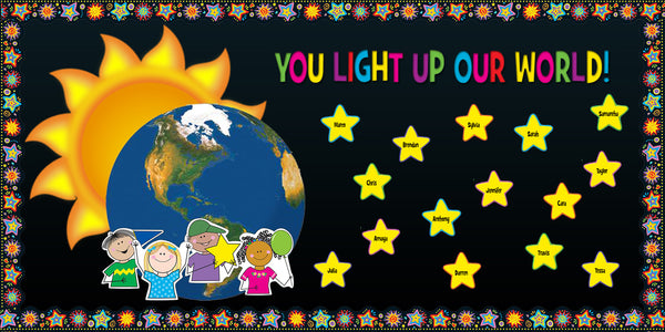 Spanish Classroom Decoration Pictures ~ You light up our world teacher appreciation display
