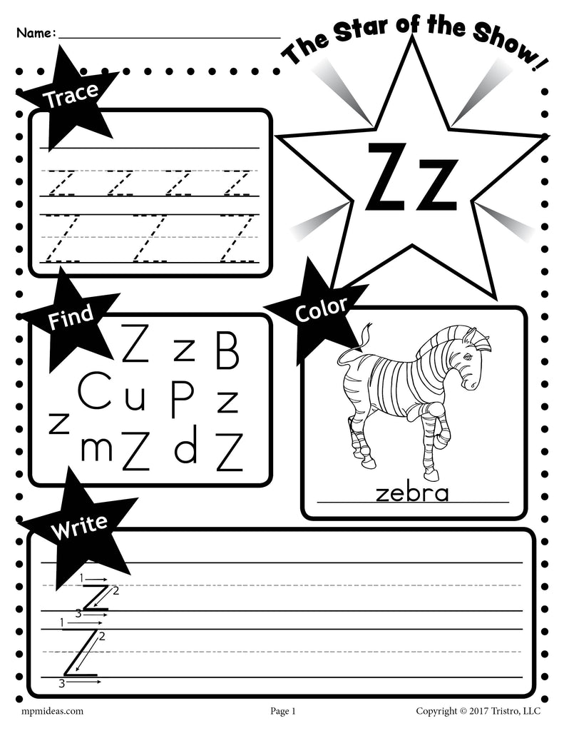 worksheet Letter Z Worksheet free letter z worksheet tracing coloring writing more supplyme more
