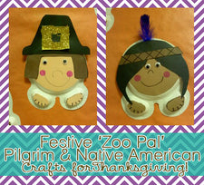 Festive 'Zoo Pal' Pilgrim & Native American Crafts for Thanksgiving!