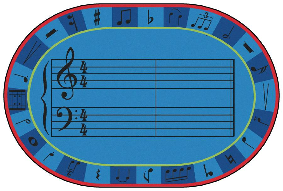 A-Sharp Music KID$ Value PLUS Discount Classroom Carpet, 8' x 12' Oval