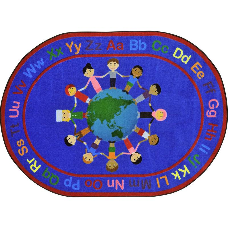 "A World of Friends™ Circle Time & Seating Rug, 5'4"" x 7'8"" Oval"