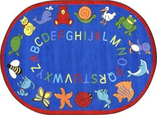 "ABC Animals© Classroom Circle Time Rug, 7'8"" x 10'9""  Oval Blue"