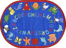 "ABC Animals© Classroom Rug, 5'4"" x 7'8""  Oval Blue"