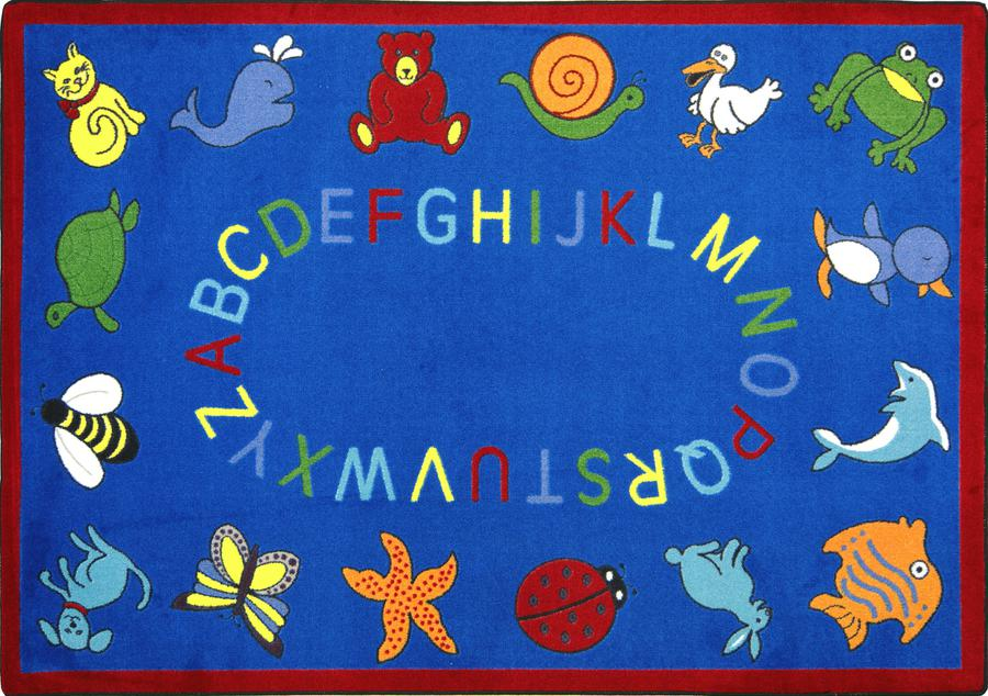 "ABC Animals© Classroom Circle Time Rug, 7'8"" x 10'9"" Rectangle Blue"