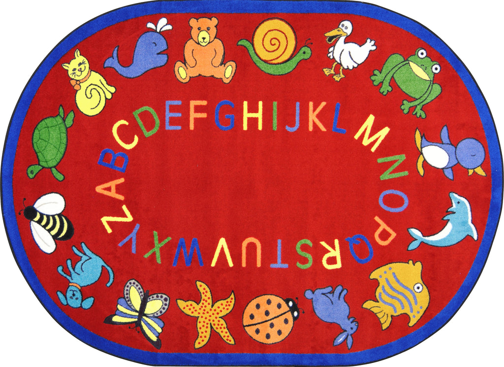 "ABC Animals© Classroom Circle Time Rug, 7'8"" x 10'9""  Oval Red"