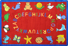 "ABC Animals© Classroom Rug, 5'4"" x 7'8"" Rectangle Red"