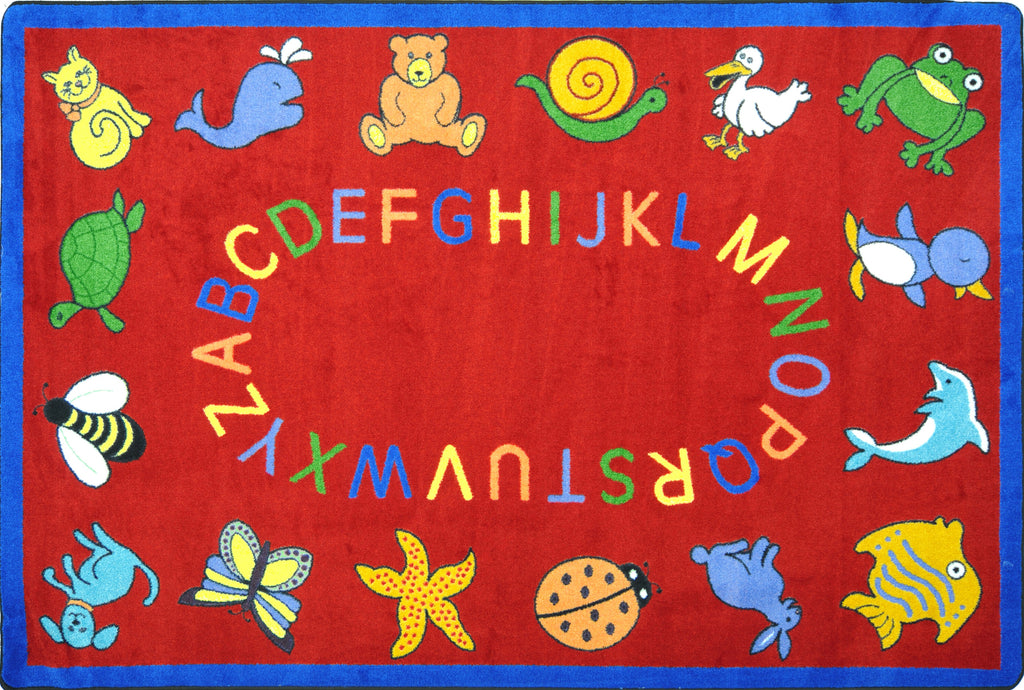 "ABC Animals© Classroom Circle Time Rug, 7'8"" x 10'9"" Rectangle Red"