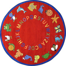 "ABC Animals© Classroom Rug, 7'7""  Round Red"