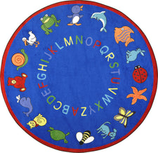 "ABC Animals© Classroom Rug, 7'7""  Round Blue"