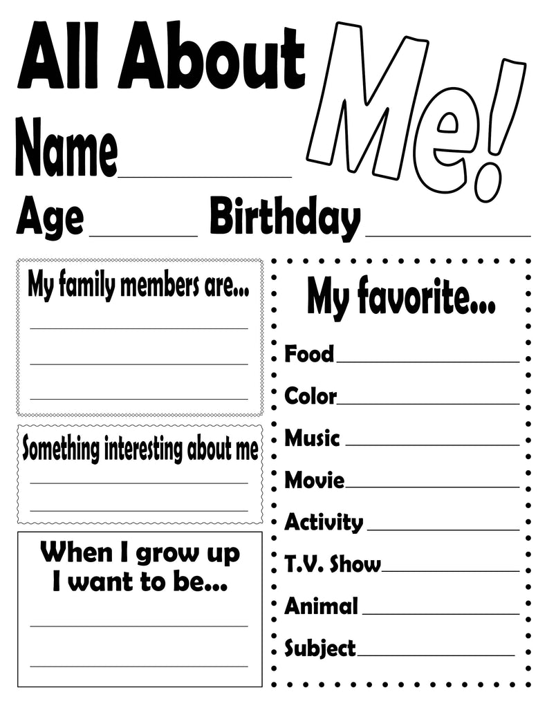 image about Printable All About Me identify All Over Me!\
