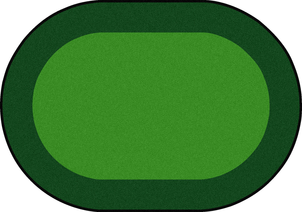 "All Around™ Green Classroom Carpet, 5'4"" x 7'8"" Oval"