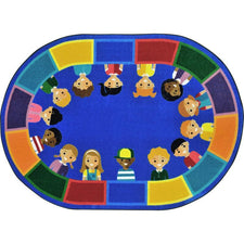 "All of Us Together™ Classroom Circle Time & Seating Rug, 7'8"" x 10'9"" Oval"