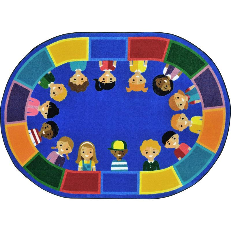 "All of Us Together™ Classroom Circle Time & Seating Rug, 5'4"" x 7'8"" Oval"
