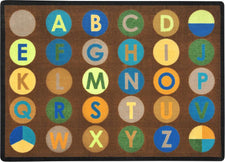 "Alpha-Dots Earthtone Alphabet Classroom Rug, 5'4"" x 7'8"" Rectangle"