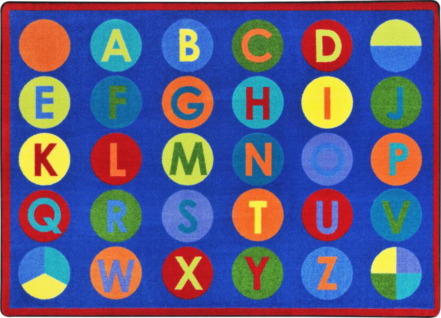 "Alpha-Dots Primary Classroom Circle Time Rug, 7'8"" x 10'9"" Rectangle"