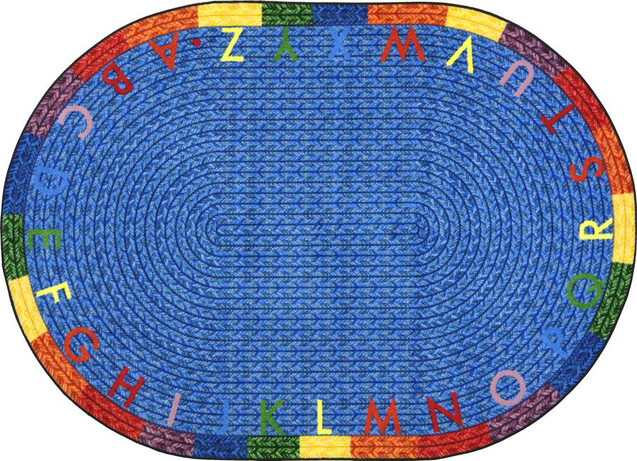 "Alphabet Braid© Classroom Rug, 3'10"" x 5'4""  Oval"