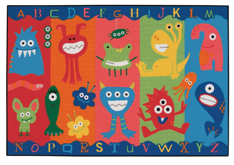 Alphabet Monsters KID$ Value Discount Carpet, 4' x 6' Rectangle