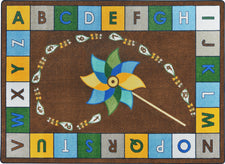 "Alphabet Pinwheel© Earthtone Classroom Circle Time Rug, 7'8"" x 10'9"" Rectangle"