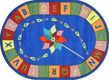 "Alphabet Pinwheel© Primary Classroom Circle Time Rug, 7'8"" x 10'9""  Oval"