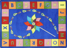 "Alphabet Pinwheel© Primary Classroom Circle Time Rug, 7'8"" x 10'9"" Rectangle"