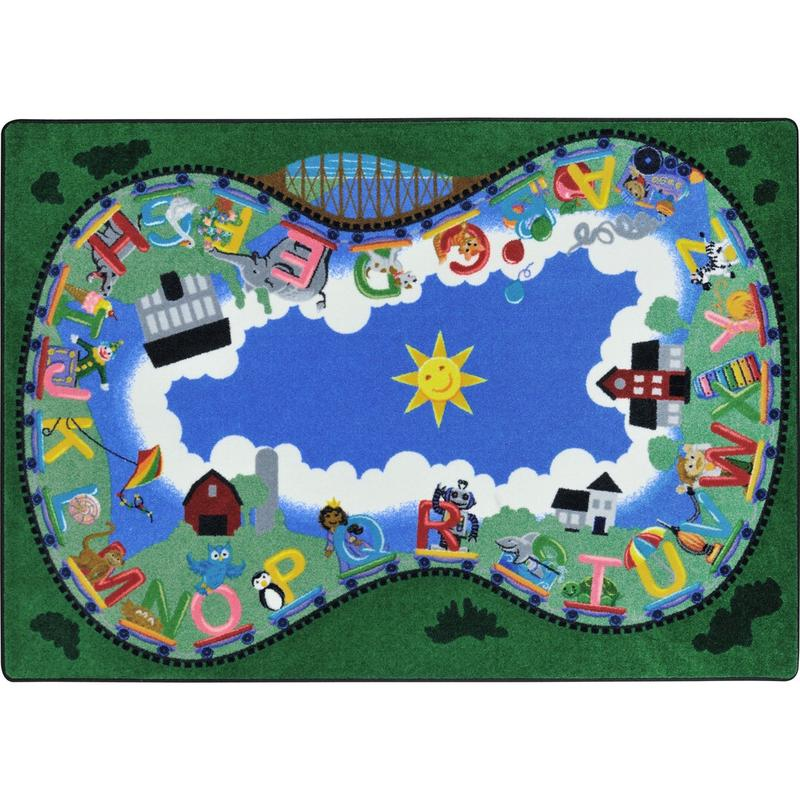 "Alphabet Railway™ Classroom Seating Rug, 7'8"" x 10'9"" Rectangle"