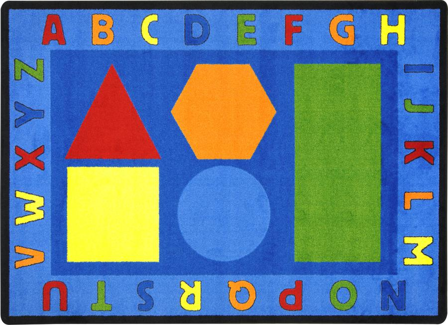 "Alphabet Shapes© Classroom Circle Time Rug, 7'8"" x 10'9"" Rectangle"