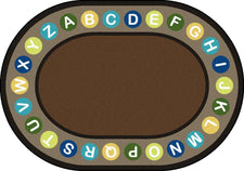 "Alphabet Spots© Earthtone Classroom Circle Time Rug, 7'8"" x 10'9""  Oval"
