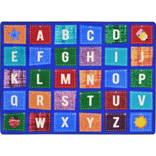 "Alphabet Upcycle™ Classroom Circle Time & Seating Rug, 7'8"" x 10'9"" Rectangle"