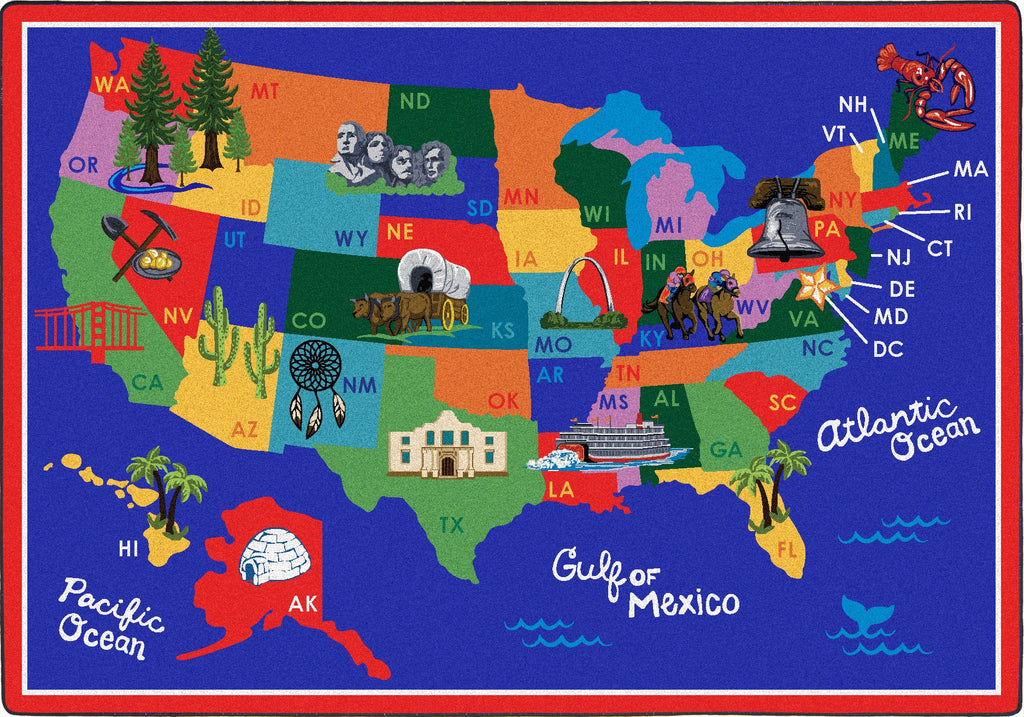 "America the Beautiful© Classroom Rug, 7'8"" x 10'9"" Rectangle"