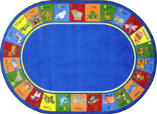 "Animal Phonics© Primary Classroom Circle Time Rug, 7'8"" x 10'9""  Oval"